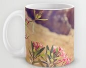 Art Coffee Cup Mug Flowers in Paradise 1 fine art Modern Landscape photography home decor Java Lovers pink brown blue green floral photo
