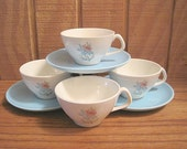 Steubenville Pottery Co - Four Cups & Three Saucers - Fairlane Pattern