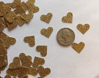 Gold Glitter Heart Table Scatter, Gold Heart Confetti, Gold Heart Die Cut, Valentines Day Decor, Wedding Decor, Heart Decoration - 150pcs
