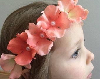 Coral flower girl flower crown, hydrangea flower girl crown