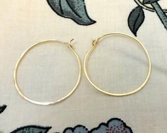 Large 14K Gold Filled Hammered Eyelet Hoops