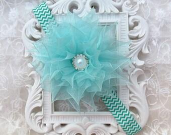 Baby Headband in Organza Ribbon Kanzashi Flower