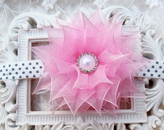 Infant Girl Headband Kanzashi Flower in Pink Organza Ribbon Flower