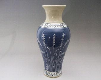 """Extra Large Stoneware Vase White Wheat  on Blue  13.75""""  height"""