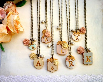 Lace Bridesmaid Necklace Initial Bridesmaids Necklaces Letter Necklace Monogram Mismatched Bridesmaids Necklaces Vintage Wedding Jewelry