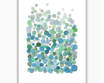 Blue Green Bubbles abstract watercolor painting, watercolor print giclee