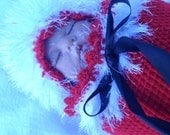 Christmas baby, Newborn CHRISTMAS coming home set, special occasion, festive, photo prop, fur trimmed wrap, hat, warm, cacoon,