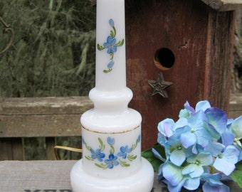 SALE - Milk Glass Lamp - Hand Painted Blue Flowers - Feminine Romantic Lighting - Oak Hill Vintage