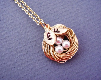 Personalized Bird Nest Necklace in Gold or Silver- choice of 1 to 3 initial leaf, mom, grandmother, sister, baby shower gift.