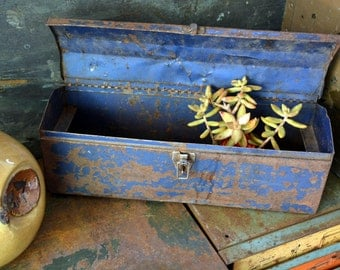 Antique Navy Blue Steel Toolbox: Long Hardware & Tool Storage Organizer / Sewing / Art Supplies Chest, Excellent Rustic Industrial Patina