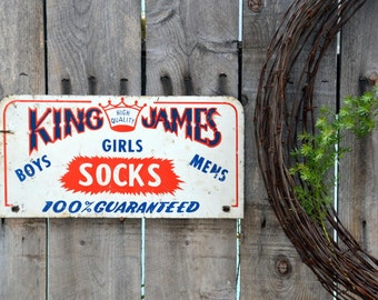 Double Sided King James Socks Steel / Enamel Retail Store Sign: Antique Red, White and Blue Advertising Display -- Crown & Distressed Patina