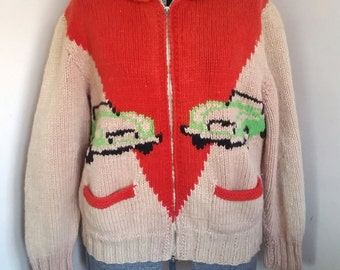 Vintage Mary Maxim 1950's Cowichan Sweater With Cars
