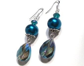Dangle Earrings, Large Tear Drop, Dark Aqua Swarovski Crystal Dangle Earrings, 2.25 Inches