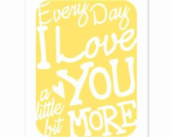 Typography Art Print - Every Day I Love You v4 - love song lyrics - wedding anniversary gifts for men women - white yellow - custom colors