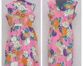 Vintage 60's Bright Floral Pink Dress by Smart Time