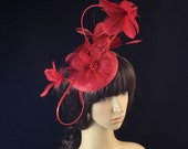 Red Fascinator, Red feather Derby hat, Sinamay Fascinator,Kentucky Derby Fascinator,Church Hat, Wedding Hat, Dress Hat, Tea Party Hat