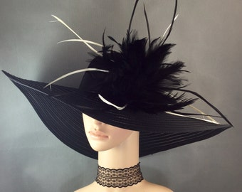 Wide brim Derby Hat , Church Hat,Dress Hat ,BLACK Kentucky Derby Hat ,Women's Wedding Tea Party Ascot Wide brim Hat funeral hat