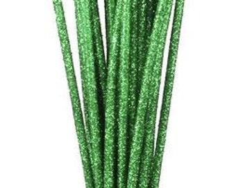 Emerald Green Glitzy Sticks RS500206, Wreath Decor, Mesh Supplies, Poly Mesh Supplies, Mesh Ribbon (24 STICKS)
