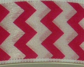 """1.5"""" Hot Pink White Small Chevron Ribbon, 5 Yards or 10 Yard Lengths Available, Deco Mesh Supplies"""