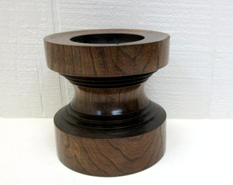 Vintage Walnut Pillar Candle Holder