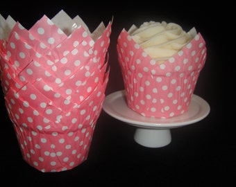 Medium Pink Polka Dot Grease Proof Tulip Baking/Candy Cups, Candy Cups, Muffin Papers - Qty 12