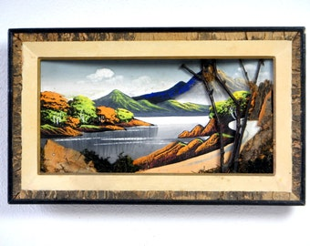 Vintage 1950s Japanese Handmade Bark, Twig and Moss Painting/Mid Century Bark Art