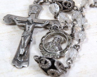 Vintage Hayward Sterling Silver Rosary with Crystal Beads, Catholic, Religious, Baptism, Confirmation, Wedding
