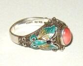 Vintage Chinese Enamel Sterling Ring