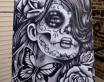 30x40 in HUGE Stretched Canvas Print - Epiphany - Black and White Day of the Dead Sugar Skull Girl