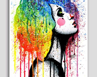 Masked II 18x24 inch Poster - Signed Art Print - Rainbow Alternative Lowbrow Clown Girl - Colorful Pop Art Portrait Home Decor