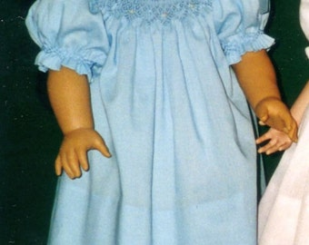 Doll's Smocked Peasant Bishop Dress Pattern - Grace Knott Doll Clothes Collection