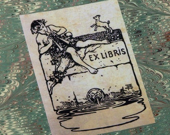 Art Nouveau Bookplate with Boy Playing Flute: Set of 24 Book Plates