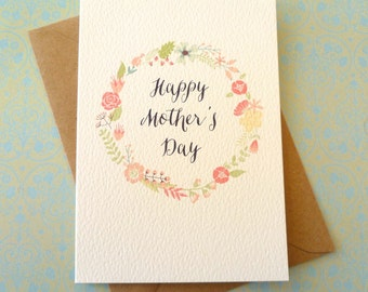 Circle of Flowers Mother's Day Card FREE UK P&P