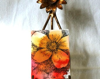 Flower watercolor aceo, pen and ink, original art abstract floral gift tag, with ribbon gold orange