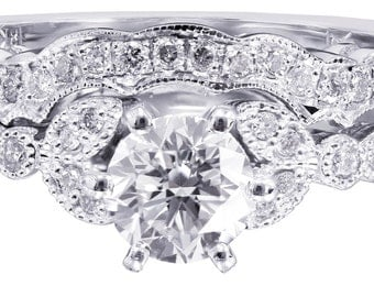 18k white gold round cut diamond engagement ring and band 0.85ctw