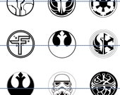 "Star Wars Symbols, Star Wars Pins, Magnets, 1""  Flat Back Buttons, Hollow Backs, Cup Cake Picks, 12 ct"