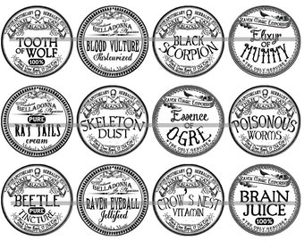 Apothecary Labels, Halloween Pins or Magnets, Vintage Apothecary, Magnet Gift Sets, Pin Give Sets, Party Favors