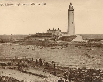 St Mary's Lighthouse WHITLEY BAY United Kingdom Vintage Real Photo Postcard Unused Circa 1910s