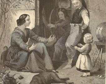 Mothers Pets - Antique Engraving from 1850s Mother and Children in the Cottage Doorway – Tender Playful Scene – Unique Mother's Day Gift