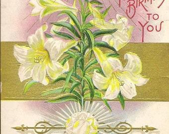 Birthday Greeting Vintage Postcard APRIL Birthday Diamond and Lilies E Nash Publisher 1909