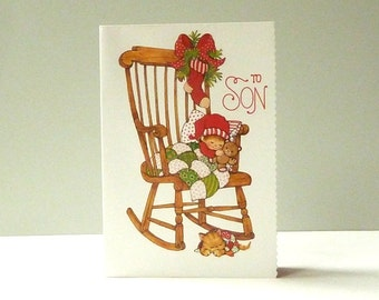 Little boy on rocking chair - ORIGINAL 1980s CHRISTMAS CARD - 'To Son' - in great condition