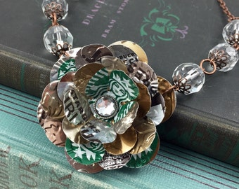 Starbucks Rose and Crystal Necklace. Recycled Soda Can Art. Starbucks Doubleshot