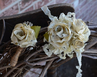 A set of matching boutonniere and wrist corsage for homecoming, prom, or any special occasion