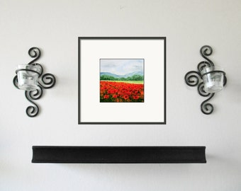 Red Poppy Field Painting - 3.5x3.5 Original Watercolor Art - FREE Shipping in US