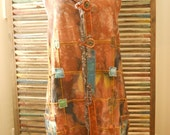Long Vest Earthy Organic Southwestern Hand Dyed Recycled Upcycled Denim Women's L/XL/XXL