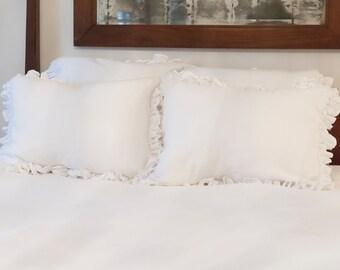 Ruffled Linen Standard Pillow Sham