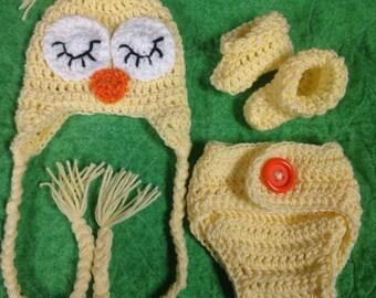 Sleepy Owl Baby Set, Sleepy Owl Baby Hat, Sleepy Owl Newborn Hat, Baby Girl Owl Hat, Baby Boy Owl Hat, Newborn Owl Hat, Owl Hat Photoprop