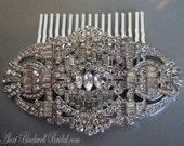Bridal Hair Comb Art Deco Rhinestone Great Gatsby Wedding Hair Accessories vintage style veil head piece silver Bridesmaid gift gifts
