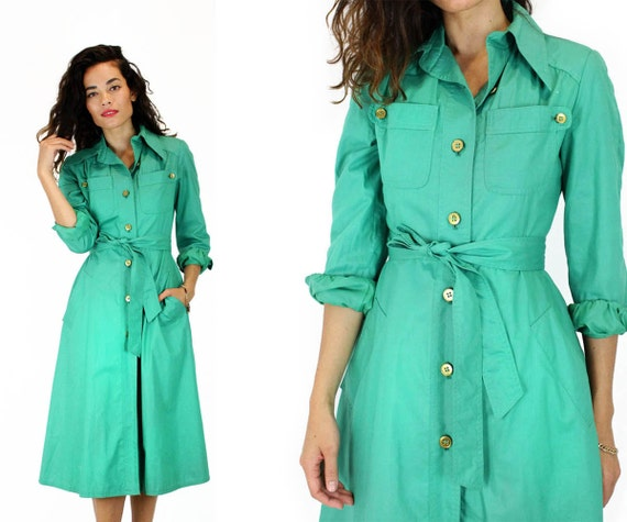 green trench coat XS 80s long lightweight fitted rain jacket