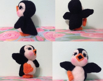Dancing Penguin / Felted Soft Scultpure / Figurine / Miniature